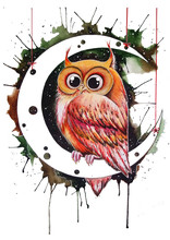 Owl On The Moon.  Watercolor H...
