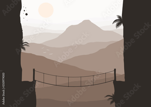 The silhouette of the rope bridge hanging between both sides of the abyss has endless mountain views background,vector illustration Canvas Print