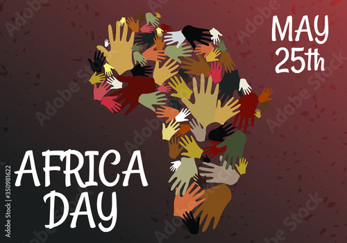 Fototapeta Many Hands for Africa Day, 25 May: Background Concept Vector of African Tribal Hand with continent. Graphic Design Illustration. obraz