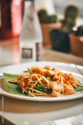 Photo Pad Thai, stir-fried rice noodles, Thai food.