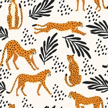Seamless Pattern With Hand Drawn Exotic Big Cat Cheetahs, With Tropical Plants And Abstract Elements On White Background. Colorful Flat Vector Illustration