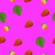 canvas print picture - The background element. Pattern. Strawberry, green leaf, not ripe berry. Purple background