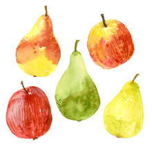 Watercolor Collection Of Apple...