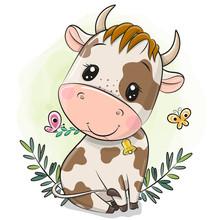 Cartoon Little Bull On A Green Background
