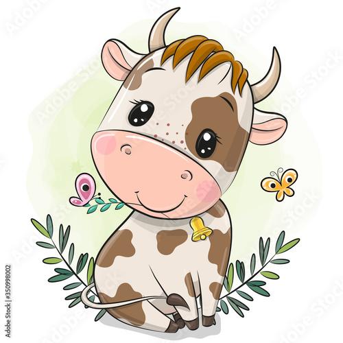 Obraz Cartoon little bull on a green background - fototapety do salonu