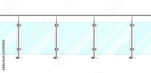 Fototapeta Section of glass fences with metal tubular railing and transparent sheets