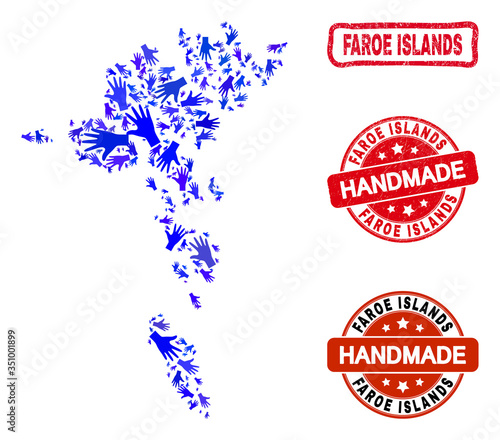 Photo Vector handmade combination of Faroe Islands map and rubber stamps