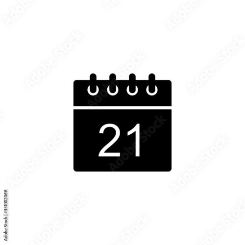 Vászonkép Black calendar icon - day 21