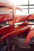 Canoes Arranged On Rack