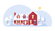 Winter cottage house with snow. Flat vector illustration.