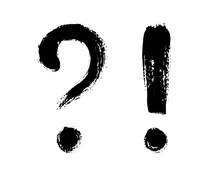 Vector Illustration Of Question Mark And Exclamation Point, Isolated On White Background. Freehand Brush Writing, Grunge Style