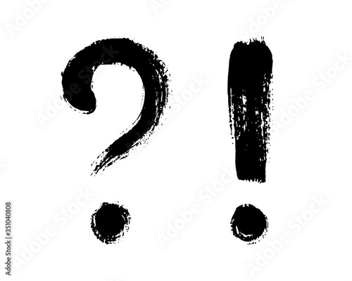 Fotomural Vector illustration of question mark and exclamation point, isolated on white background