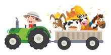 Funny Little Farmer Riding Tra...