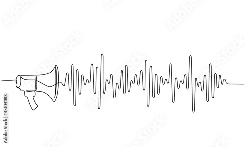 Megaphone, loudspeaker with sound wave. one line drawing Fototapet