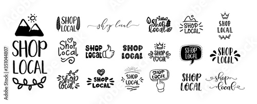 Fotomural SHOP LOCAL set of hand drawn text and doodles badges, logo, icons
