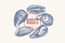 Hand-drawn Set Of Mussels In D...