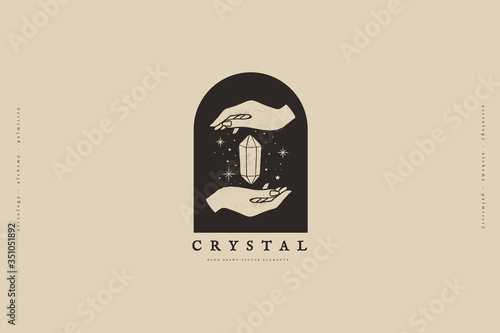 Photographie Logo template with hands and crystal vector illustration