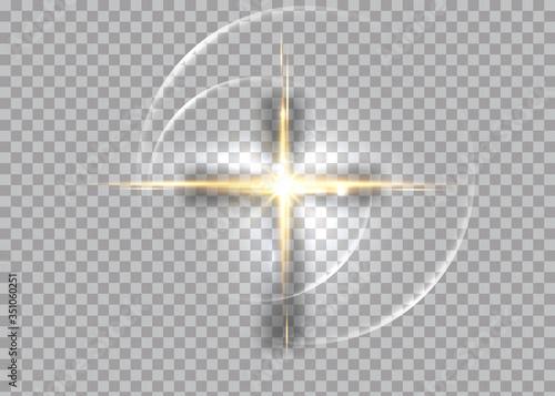 Canvas Print cross of light, shiny Cross with golden frame symbol of christianity