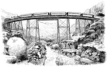 The History Of The Railway. Viaduct Over The Colorado River. Illustration Of The 19th Century. White Background.