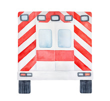 Watercolour Drawing Of Rear Part Of Red And White Emergency Ambulance Car. Hand Drawn Water Color Graphic Painting, Cut Out Clip Art Element For Design, Medical Banner, Composition, Visiting Card.