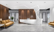 Leinwanddruck Bild - 3d rendering modern luxury hotel and office reception and lounge with meeting chair and yellow sofa