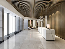 3d Rendering Luxury Hotel Reception Hall And Wood Asian Style Office With Modern Counter
