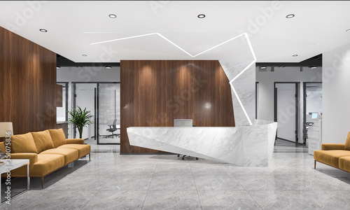Obraz na plátně 3d rendering modern luxury hotel and office reception and lounge with meeting ch