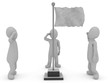 canvas print picture - 3d illustration stickman respect pose to blank waving flag white background isolated.