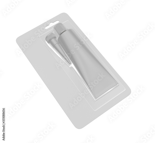 Blank industrial adhesive silicone sealant glue sump tube blister packaging for branding and mock up design Fototapet