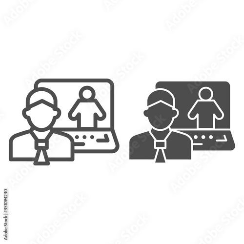 Fotografie, Obraz Man and laptop line and solid icon, business conversation concept, online consultation vector sign on white background, video communication with specialist icon in outline style
