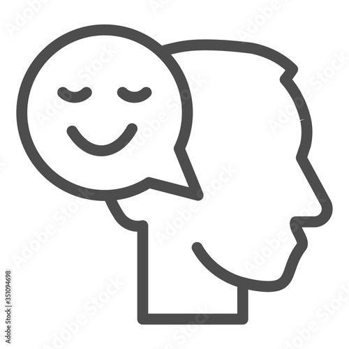 Obraz na plátně Person with positive thought line icon, communication concept, User with speech bubble sign on white background, Thinking head with happy smile sign in outline style