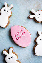 Easter Fondant Covered Gingerbread Egg And Bunny Biscuits