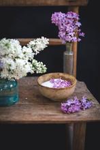 Lilac Sugar In A Ceramic Bowl