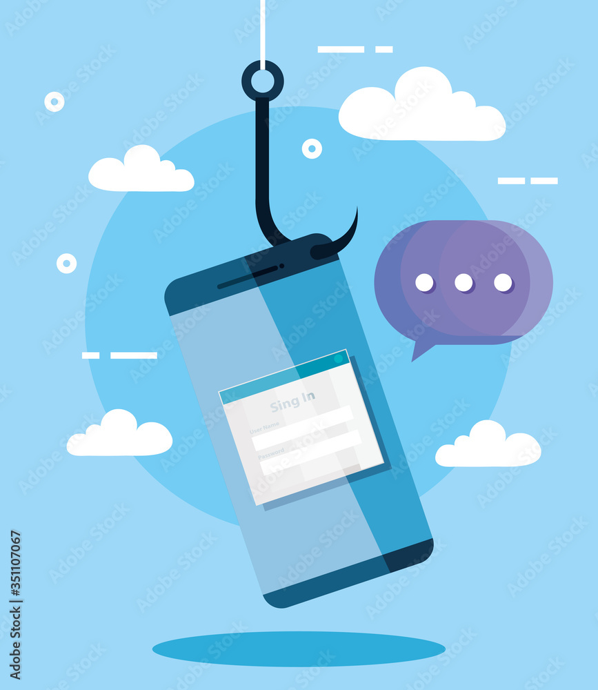 Fototapeta data phishing hacking online scam concept, with smartphone hook vector illustration design