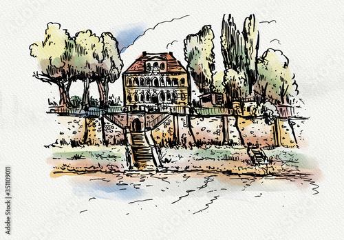 Fototapety, obrazy: Dresden castle uebigau sketchbook saxony