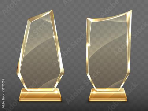 Photo Glass trophy on gold base, transparent crystal winner award