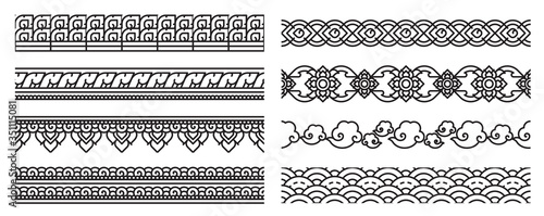 Fototapeta Modern Thai art line seamless border. Old lace patterns. Bold line cute and doodle art use for decoration thai artwork conceptual. obraz