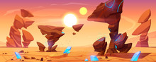 Alien Planet Desert In Cosmos. Mars Landscape Background, Ocher Ground Surface With Rocks, Blue Crystals, Two Suns On Sky. Martian Extraterrestrial Computer Game Backdrop, Cartoon Vector Illustration