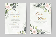 Rose Watercolor Wedding Invitation Template. Green Leave And Flower Background With Gold. Greeting Card.