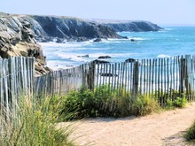 Scenic View Of Beach And Rocky Cove