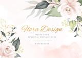 Fototapeta Kwiaty - Elegant flower watercolor background card. Wedding invitation flora.