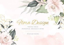 Elegant Flower Watercolor Background Card. Wedding Invitation Flora.