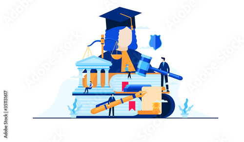Fotografía law and justice education vector illustration concept template background can be