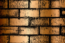 Distressed Overlay Texture Of Old Golden Brick Wall, Grunge Background.