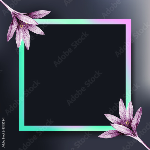 Square frame with pink amaryllis pattern vector Canvas Print