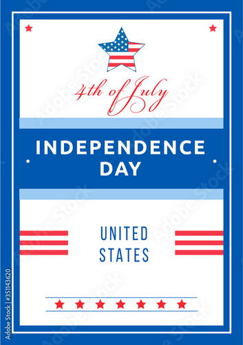 Independence Day poster flat vector template. American national holiday. Freedom celebration. US freedom and liberty. Brochure, booklet one page concept design. Fourth of July flyer, leaflet