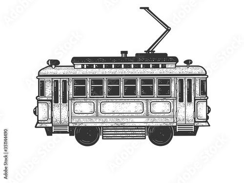 Fototapeta vintage tram sketch engraving vector illustration. T-shirt apparel print design. Scratch board imitation. Black and white hand drawn image. obraz