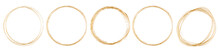 Set Of Gold Round Frame On White Background