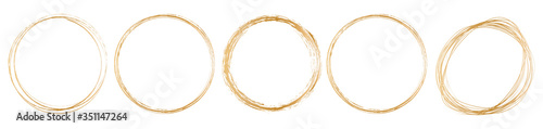 Papel de parede set of gold round frame on white background