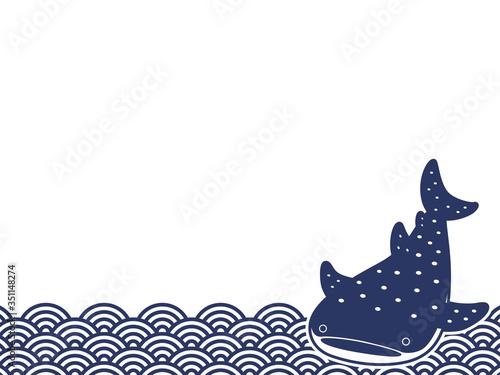 Tela ジンベエザメ 和柄 てぬぐい 青海波 1C